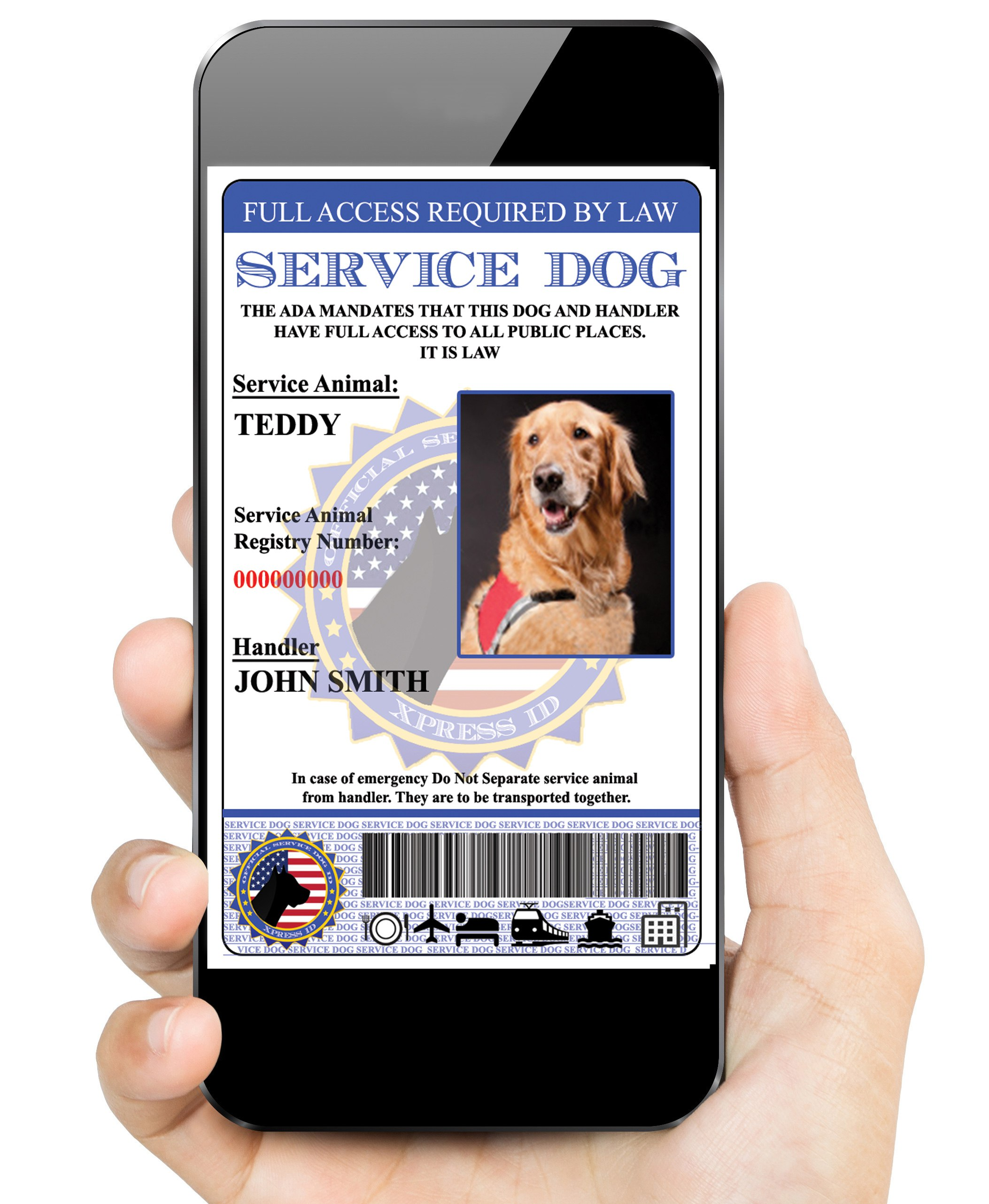 Digital service dog id to carry in smart phone xpressid sale 1betcityfo Image collections