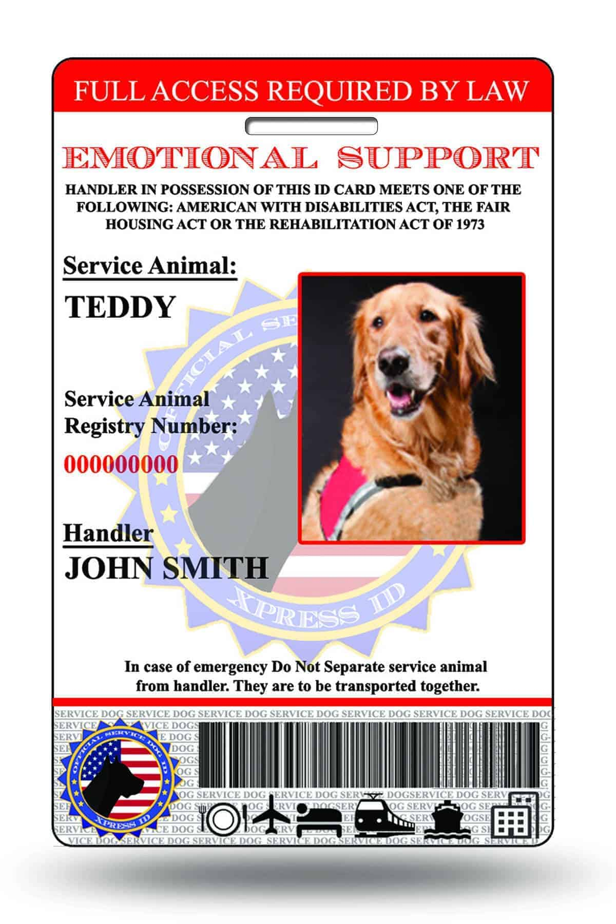 Emotional Support Animal Id Card Free Access To Animal