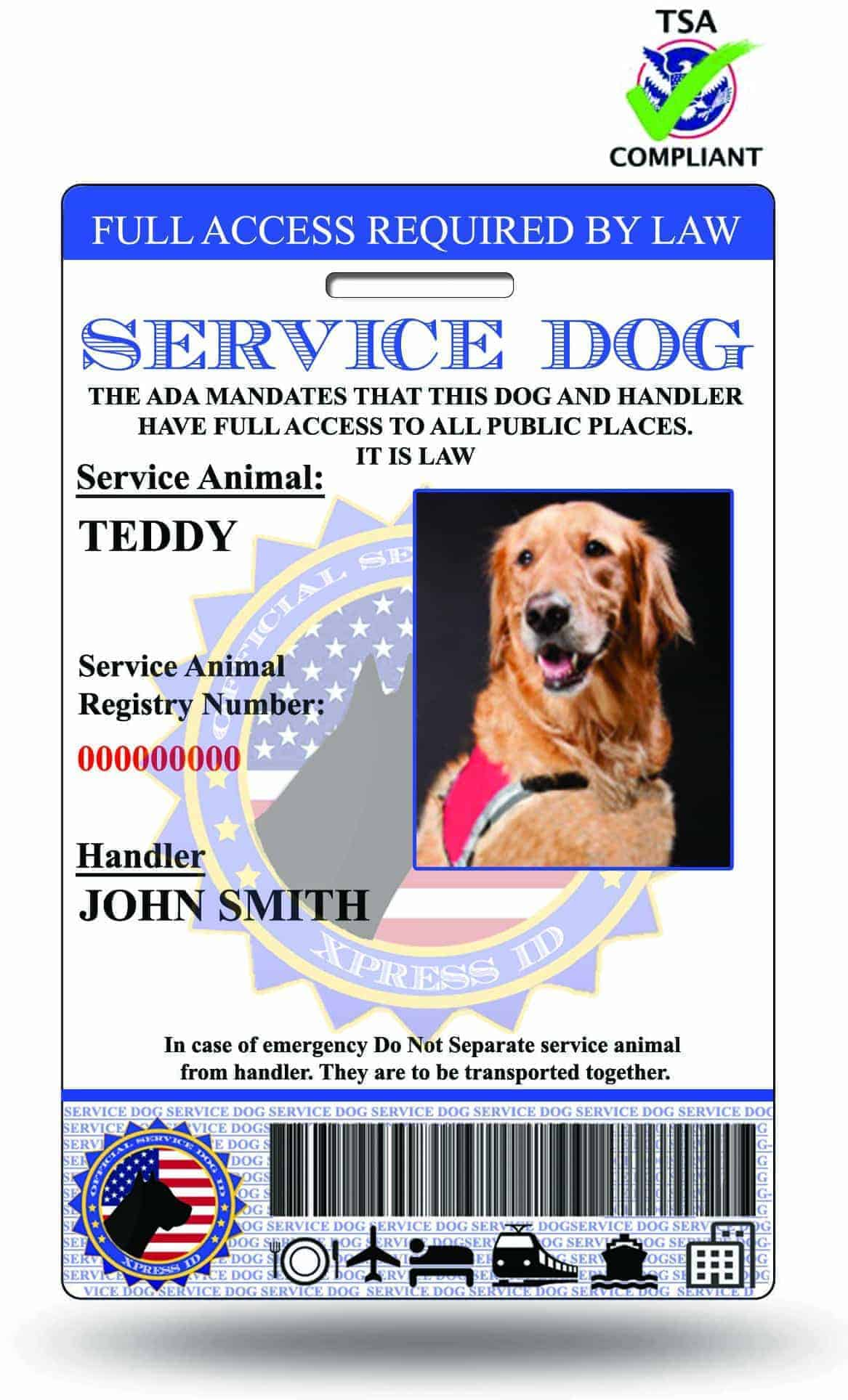 Service Dog Id Emotional Support Animal Id Therapy Dog Id Xpressid