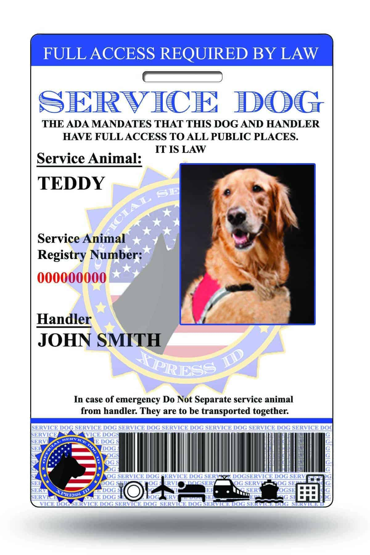 Service dog id card free access to animal registry xpressid 1betcityfo Gallery