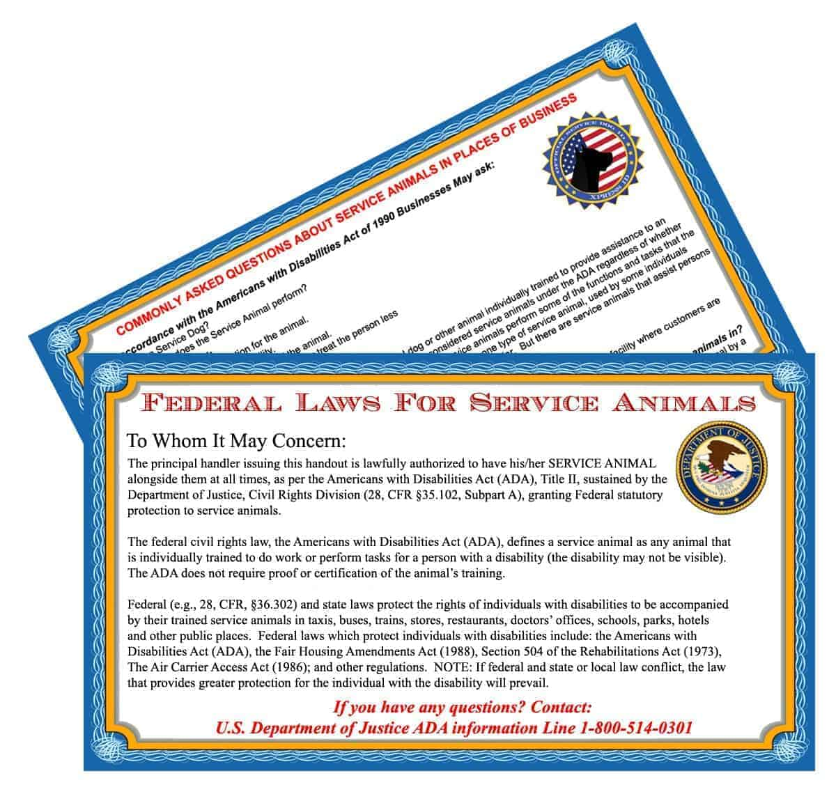 Service dog info cards 50 ada service dog xpressid xpressid home products service dog id xflitez Images