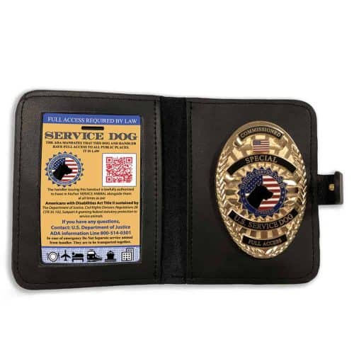 Service dog badge and wallet for carrying your ID