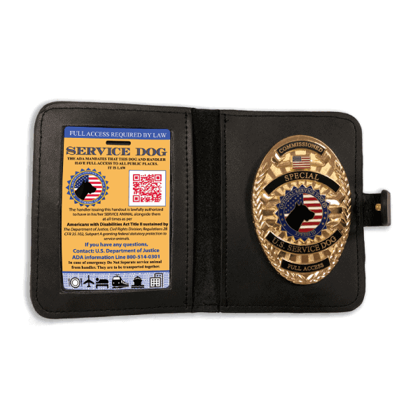 Service Dog Badge & Wallet With Yellow Card