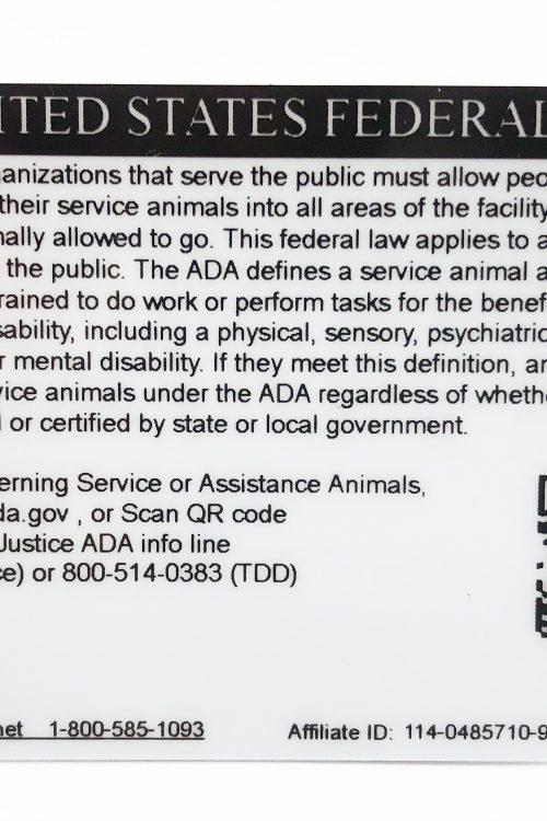 Service Dog ID back