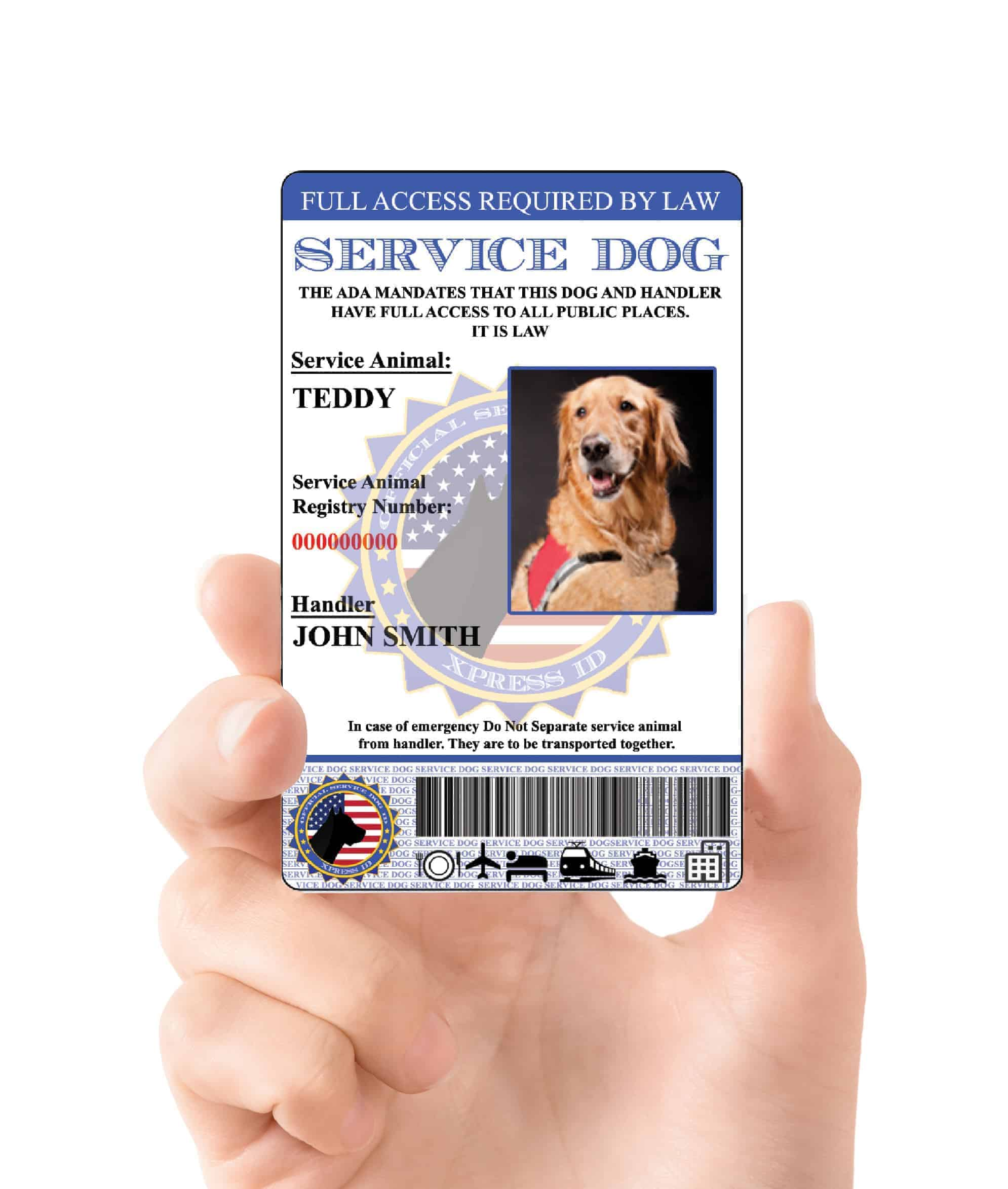 Service dog id card free access to animal registry xpressid holographic service dog id custom 1betcityfo Image collections