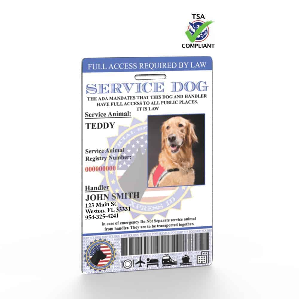 Service Dog Id Card Free Access To Animal Registry Xpressid
