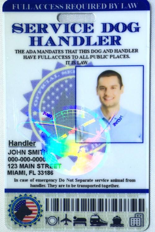 Service Dog Handler Id Card Holographic Xpressid