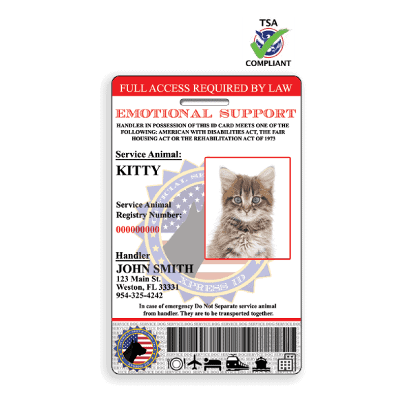Emotional Support Feline ID Badge