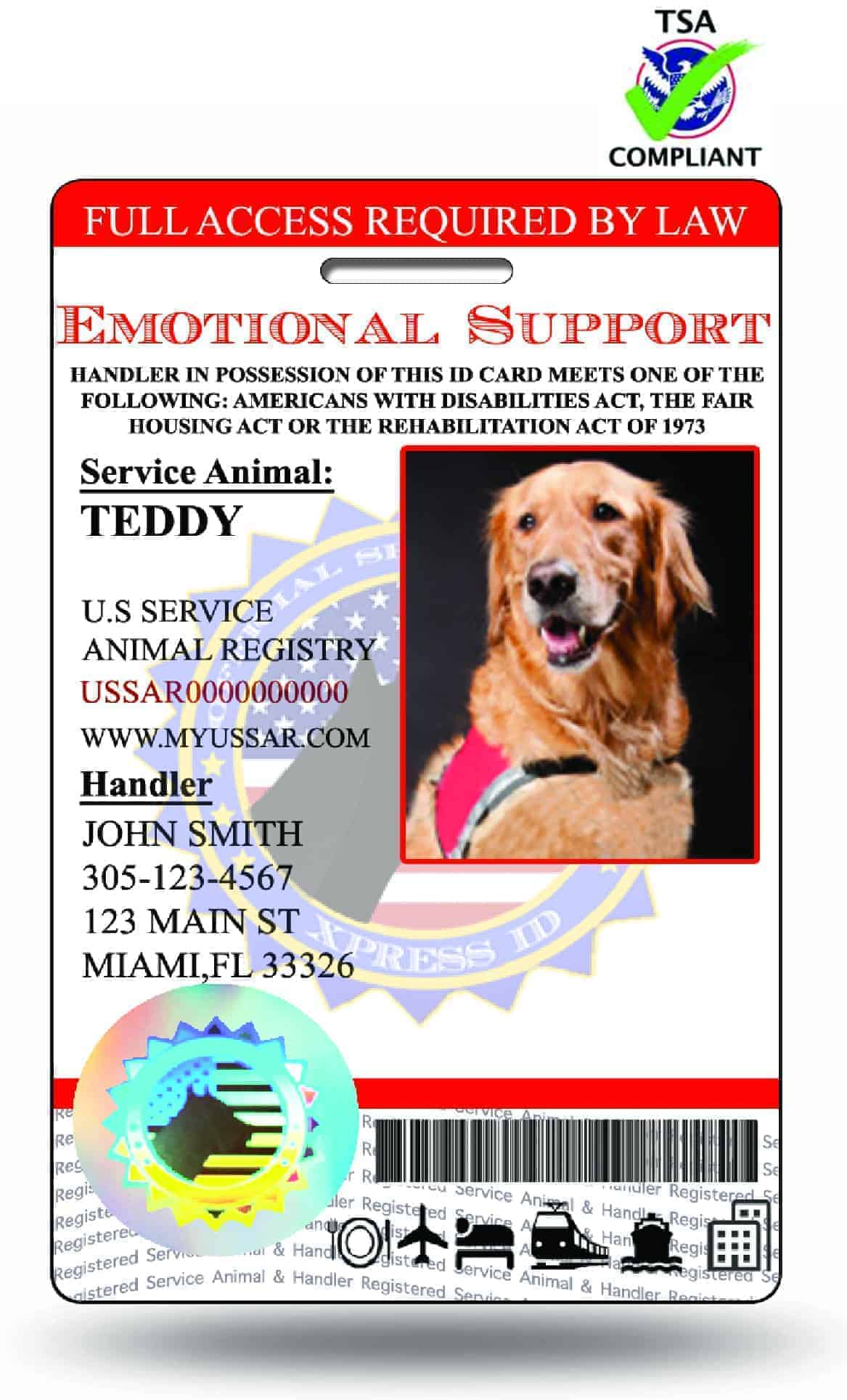 Holoseal Emotional Support Animal Id Free Access To