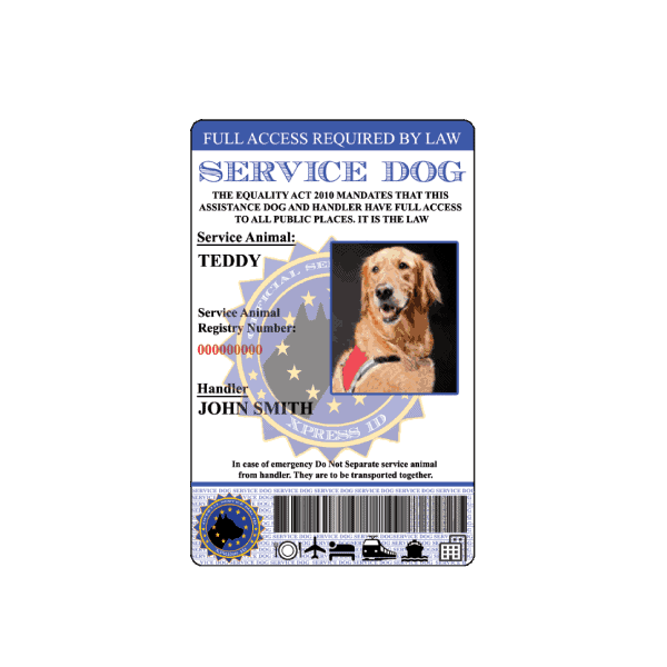 Service Dog European ID Badge