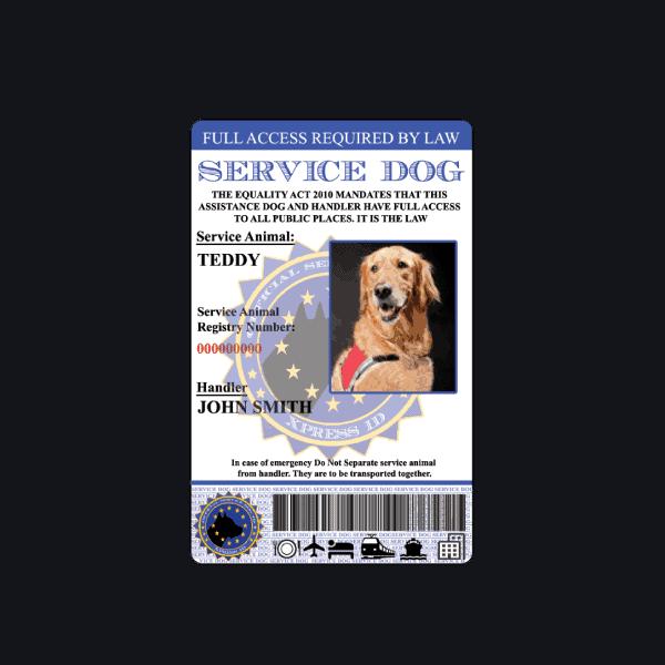 Service Dog European ID Badge
