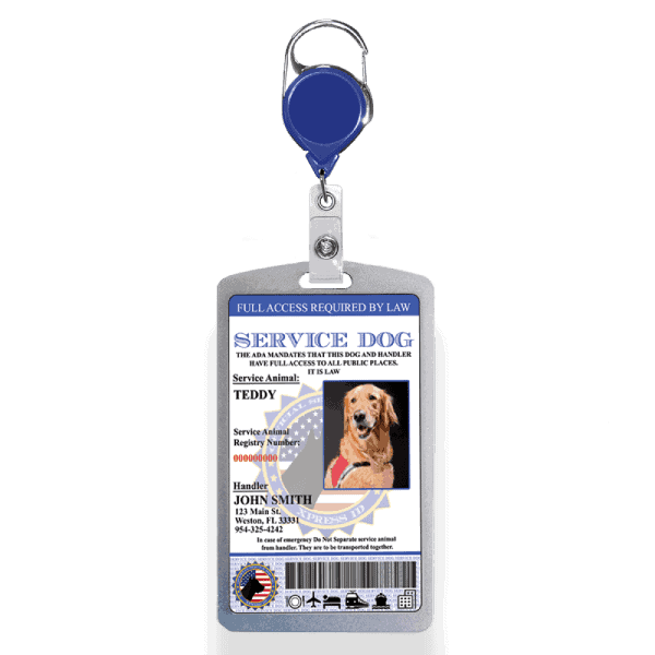 Service Dog ID Badge with Aluminum badge holder and badge reel