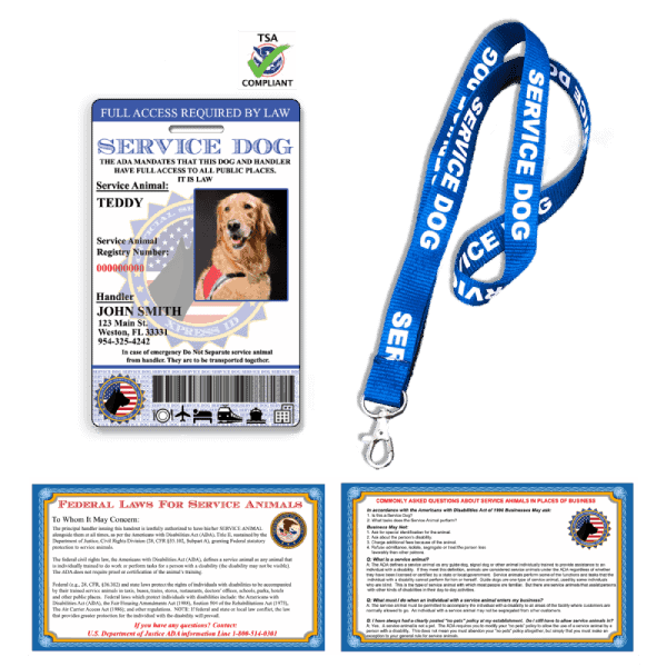 Service Dog ID Card with lanyard and ADA Cards